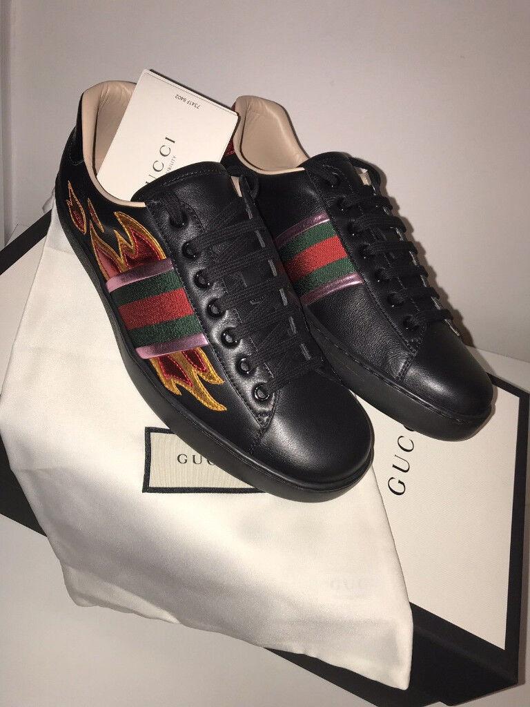0d13e322300 Authentic Black Gucci Ace Flame Shoes size 9