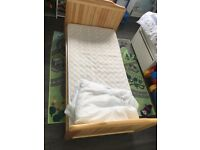 Classic Toddler Bed Antique pine with mattress & bedding