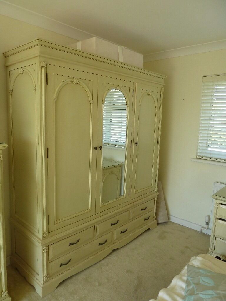 Wood French Armoire Shabby Chic Cream 3 Door Wardrobe With Mirror
