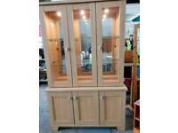 Oak effect display cabinet