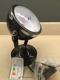 New and boxed Pair of Black /Chrome Spot Table Lamps