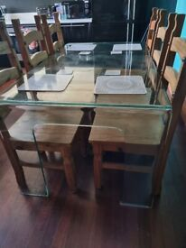 6 seater dining table and 6 wood chairs