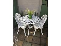Metal vintage garden chairs and table