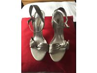 Beautiful New Dune Leather Silver Heeled Sandals size 5.5