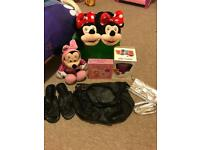 Minnie Mouse, next sandals 6 1/2, Minnie Mouse slippers 7/8, jelly maker, black/silver bag & books