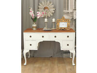 Shabby chic walnut desk/dressing table by Eclectivo