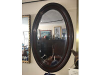 Beautiful Antique Victorian Oval Carved Mahogany Framed Decorative Bevel Mirror