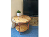 Solid Pine Coffee Table With Glass Top