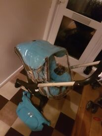 Blue doona carseat pram in new condition suitable frim birth from smoke free home bag/raincover inc
