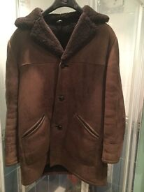 "Vintage sheepskin 3/4 length jacket with leather trim size 40"""