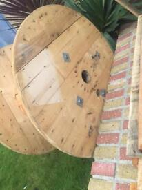 Wooden cable reel for garden table project