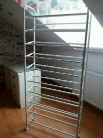 White metal shoe rack