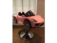 All new brand new pink porsche 918 spyder style barber/salon chair