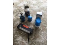Camping Gaz Burner with spare Gas canister, Hanging Camp Lamp and Battery Light