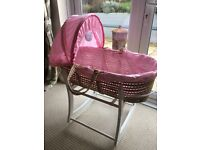 Mothercare Claire De Lune Wicker Moses Basket & Wooden Stand. Inc mattress, sheet and duvet.