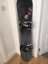 Forum Raider 157 snowboard and Ride Bindings