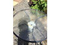 Glass garden table round FREE