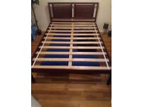 Wooden double bed base with wooden rail style head board. Collection only self assembly fixtures inc