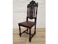Antique Carved Hall Chair (DELIVERY AVAILABLE FOR THIS ITEM OF FURNITURE)