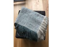 Anthropologie Blue/Green/Cream Woven Blanket with Fringe