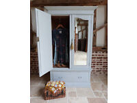 Edwardian painted shabby chic double mirror doors drawer base wardrobe armoire