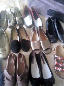 Thirteen pairs ladies shoes /four bags