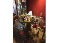 Glass top Wicker table and four chairs
