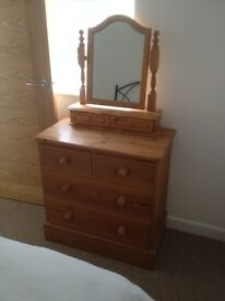 Solid Pine Chest of Drawers & Vanity Mirror