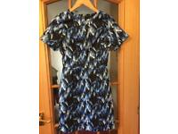 Warehouse blue, black and white print dress. Size 8.