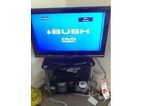 """32""""tv with black glass stand"""
