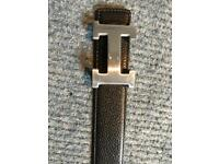 Hermes black and grey reversible men's belt