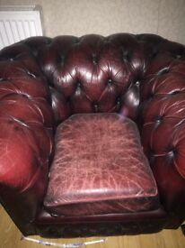 Chesterfield two seat sofa + armchair