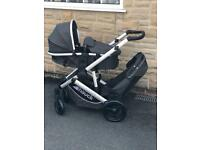 NEW NO BOX HAUCK DUETT 3 TWIN TANDEM DOUBLE BUGGY PRAM PUSHCHAIR BLACK UNISEX SIMILAT TO ICANDY