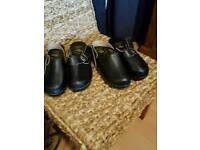 Black leather clogs 2 pairs