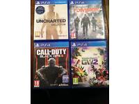PS4 games call of duty black ops uncharted the division