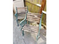 2 x Cast Iron Chairs with Refub' Potential