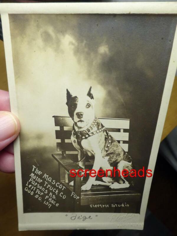 1917 RPPC PHOTO ADVERTISING MASCOT PIT BULL DOG Motor Truck Co. PARSONS KANSAS
