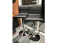 Set of Two gas lift faux leather bar stools