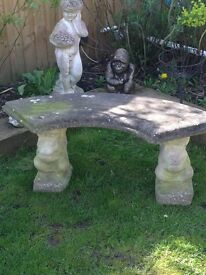 Excellent condition half moon bench with squirrel ends