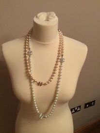 Chanel inspired faux pearl necklace