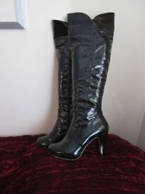 Nearly new Black Patent over the knee boots size 5
