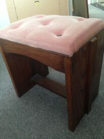 Vintage Pink RETRO Piano Style Stool Bedroom Seat