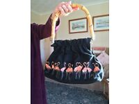 Lulu Guinness 'Katrina' Flamingo motif handbag.Can be viewed in Haslemere Surrey or East Dulwich.