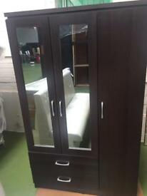 Charles Wardrobe Mirrored 3 Door 2 Drawer