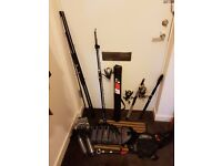 large collection of lure fishing gear