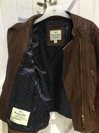Brown leather jacket age 13-14 years