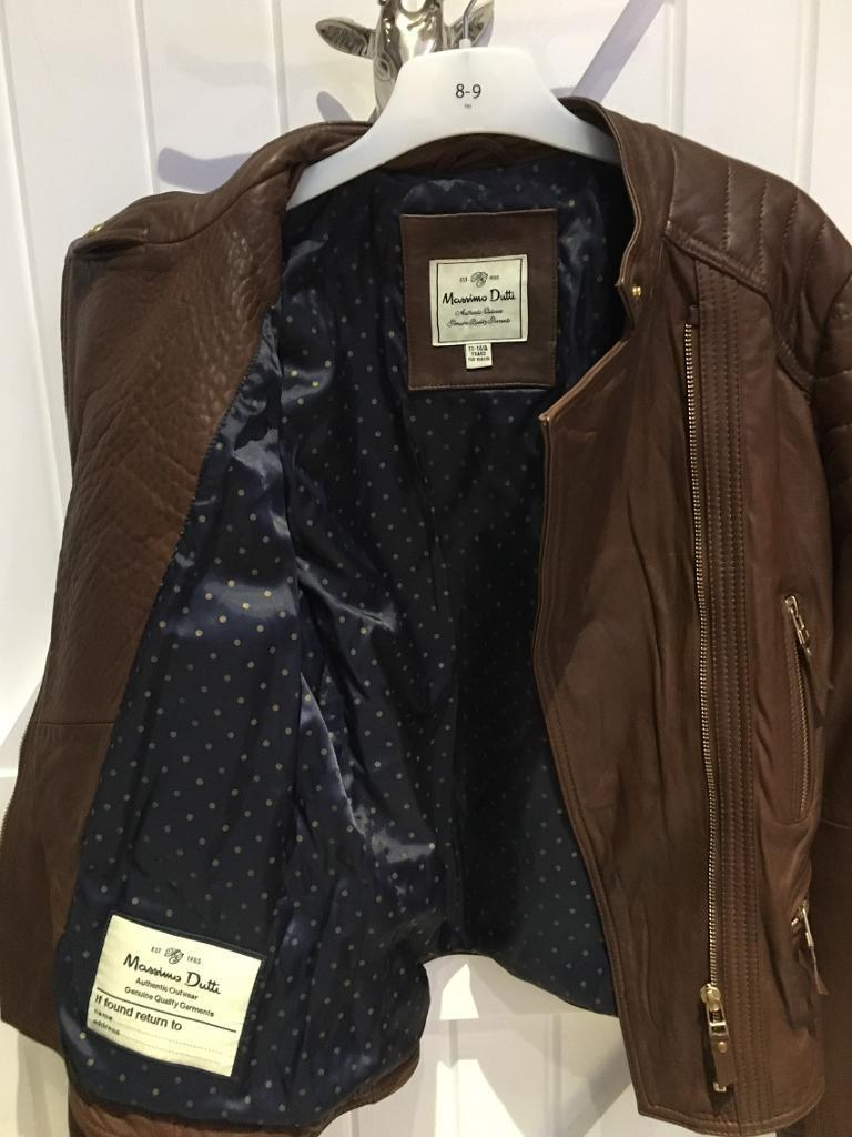 Brown leather jacket age 13 14 yearsin Tarporley, CheshireGumtree - Gorgeous designer Massimo Dutti soft leather brown leather jacket brand new never worn , lovely detail gold zips , excellent Christmas present