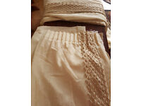 """BEIGE GOLD HEAVY VOILE LINED CURTAINS - TRELLIS EMBROIDERED TRIM 60"""" W X 88"""" DROP"""