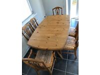 Ducal Pine extending table with 6 chairs