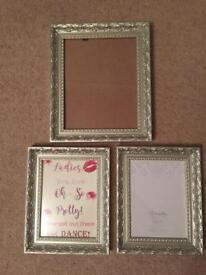 3 champagne photo frames for wedding